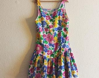 Vintage 1980s Tracy Sue Ra-Ra Floral Drop Waist Summer Dress 6y