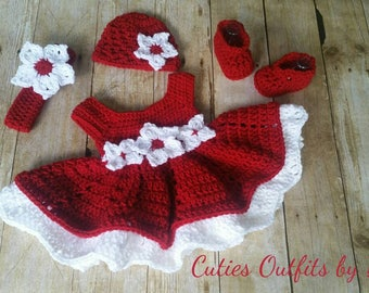 Crochet Baby Outfit, Red Baby Dress Set, Handmade Baby Headband, Newborn Outfit, Baby Shower Gift, Infant Girl Dress, Coming Home Outfit