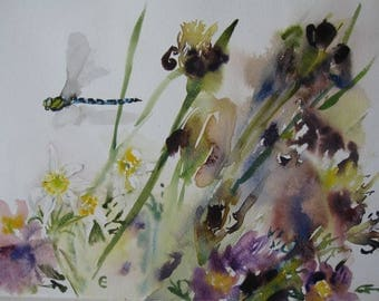 Spring Flowers with Dragonfly/Dragonfly and Flowers
