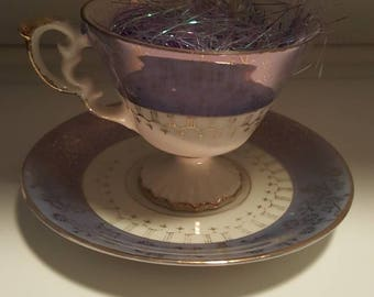 """Vintage """"Royal Sealy"""" Teacup and Saucer - Made in Japan - Lusterware - Blue & Gold"""