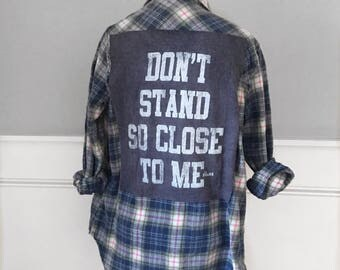 Dont Stand So Close To Me flannel Tee The Police dont stand so close to me graphic tshirt on light blue brushed cotton women's small