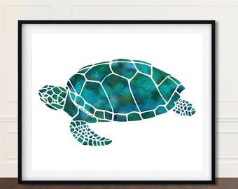 Sea Turtle, Under The Sea, Sea Turtles, Gift Under 10, Seaturtle Wall Art, Seaturtle Print, Sea Turtle Poster, Watercolor Seaturtle