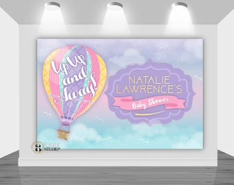 PRINTABLE backdrop|| Up Up & Away Baby Shower|| Hot Air Balloon Baby Shower|| Customizable|| Any Wording