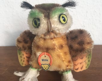 Very Good Condition! All IDs 60s Vintage Steiff Owl Wittie antique soft toy