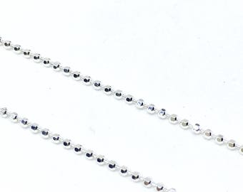 Diamond cut sterling silver ball chain.