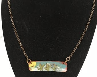 Leather plate necklace