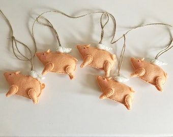 Handmade Felt Flying Pig Garland - Pigs Might Fly - Wings - When Pigs Fly - Pigasus