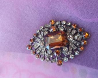 vintage topaz brooch