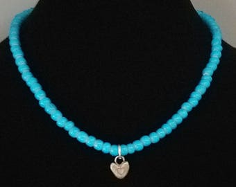 African trade beads and handmade heart necklace
