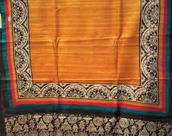Handwoven pure Kosa silk/ Tussar silk  saree : Free shipping in USA