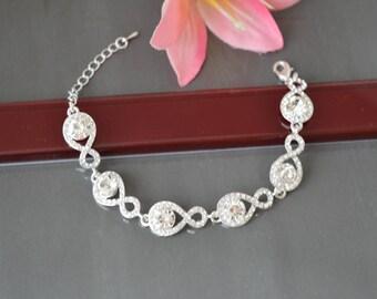 "Bracelet ""Infinity2"",Wedding Bracelet,Crystal bracelet,Bridesmaid Bracelet,Jewelry."
