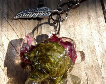 Ivy leaf turtle bag charm