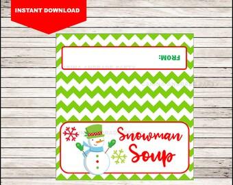 Snowman Soup Bag Topper - Printable Christmas Gift Bag Topper - Instant Download