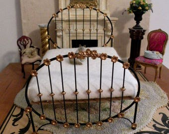 "Artisan Made Dollhouse Miniature Wrought Iron Look Bed ""GABI"" 1:12 Scale Twin and Full, Half Scale"