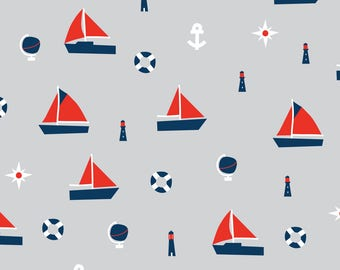 Smooth Minky Fabric by the yard Boy Nautical Sailboat print nursery fabric. Navy Red White Gray