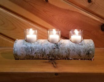 White Birch Log 3 Votive Holder, White Birch Log Tea Light Holder, Rustic Candle Holder, Wood Candle Holder, Home Decor, Holiday Decor