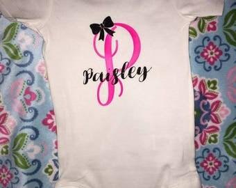 Personalized Name Initial Onesie, Monogram Initial Onesie, Personalized Onesie, Baby Girl Onesie