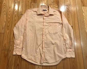 Italian made Peach button up dress shirt Antico Borgo made in italy Size large 16/41 High quality luxury fashion designer cotton high end