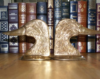 Brass Duck Heads Bookends | Vintage Brass Bookends