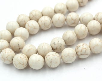 """Two 15"""" strands, White Magnesite Beads 12mm"""