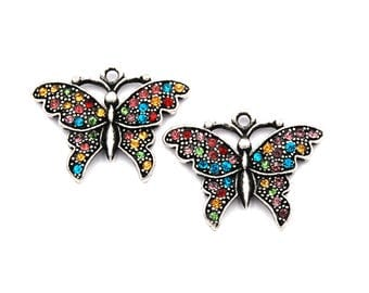 2pc, Rhinestone Butterfly Charm, Pewter