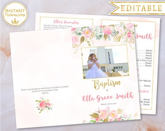 Baptism Program Girl Editable PDF with Picture Digital Print LDS Baptism Program Printable Folded floral watercolour pink gold Baptism Girl