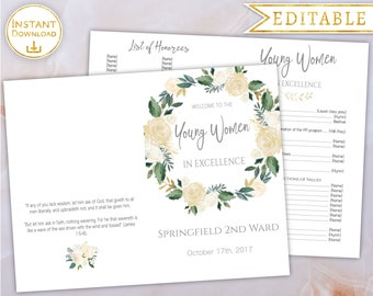 Young Women in Excellence Program Editable PDF Template White Gold Floral, LDS, YW, Young Women program, Printable