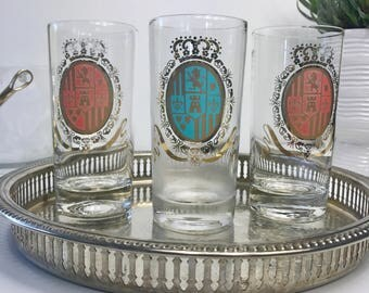 Mid Century Glassware Set, Barware Glasses, Highball, Coat of Arms, Vintage Barware, Bar Cart, Cocktail Glass, Mad Men, Mid Century Barware
