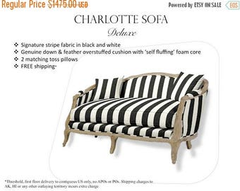 ON SALE Charlotte Sofa Deluxe. French settee/sofa with custom upholstery and FREE Shipping