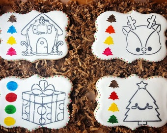 Paint Your Own Christmas Cookie - PYO Cookie - Christmas Cookie - Stocking Stuffer - Christmas Gift