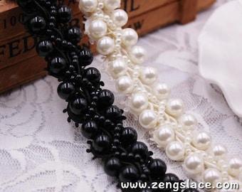 pearl beaded Trim/bridal sash trim/jewelry trim/pearl beading trim/luxury trim/heavy beading trimming/bead strip/DL-24