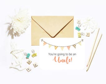 You're Going To Be An Uncle! Single Postcard With Envelope Baby Pregnancy Announcement
