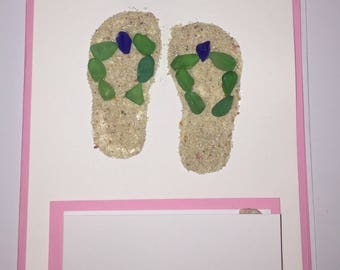 Seaglass/Pink Sand flip flop greeting card