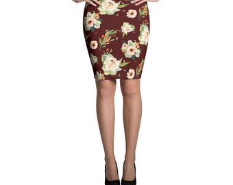 Fall Floral Maroon Pencil Skirt