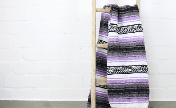 Vintage Falsa Blanket made in Mexico Sarape 180 x 130 cm Lilac