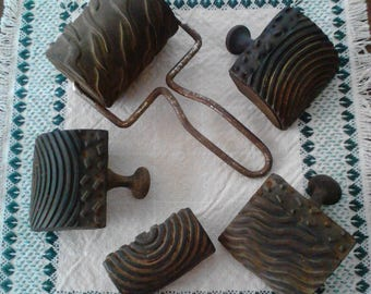 Antique Chi Namel Roller and Wood Grain Stamping Tools