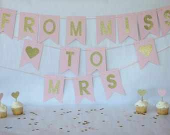 Pink and Gold Bridal Shower Decorations - Pink and Gold Bridal Shower - Miss to Mrs Banner - Bridal Shower Banner - Pink Bridal Banner