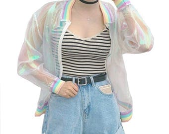 Holographic Rainbow Windbreaker Cardigan See through Clear Long Sleeve Bomber Jacket.