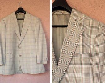 Burberry Wool Blazer Jacket - Checked Print Tweed Jacket