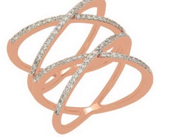 Double crisscross ring ,diamond ring , rose gold ring , statement jewelry