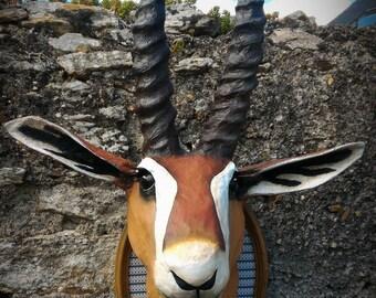 UNIQUE piece available - Trophy decorative handmade Gazelle head.