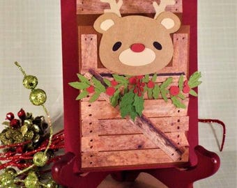 Rudolph's in the Barn - handmade gift card holder for your Christmas treasures with a matching envelope