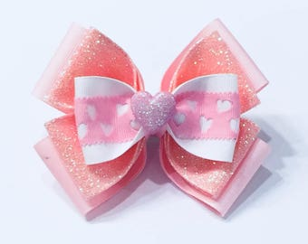Valentine Hair Bow Pink