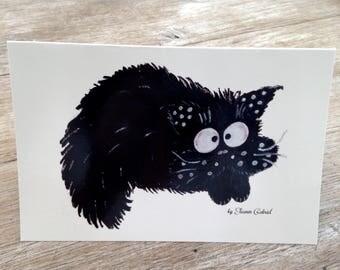 Carte pliée rigolote toutes occasions avec chat-fouin