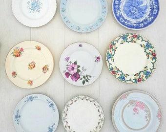 10 Dinner plate, vintage plates, vintage crockery, mismatch China, mismatch crockery, wedding China, wedding crockery, bulk plates, teaparty