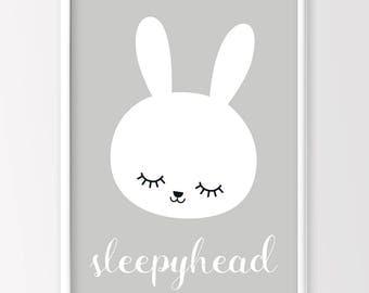 Rabbit print, Nursery Decor, Monochrome Nursery, Monochrome Kids Room, Kids printable Art