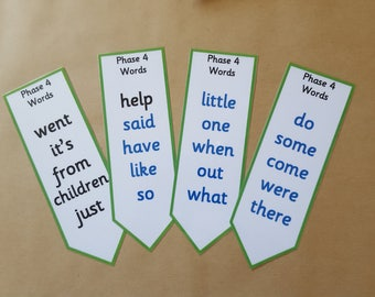 Phase 4 Phonics Bookmarks - Literacy, letters and sounds, EYFS, early learning, key words, reception, tricky words,
