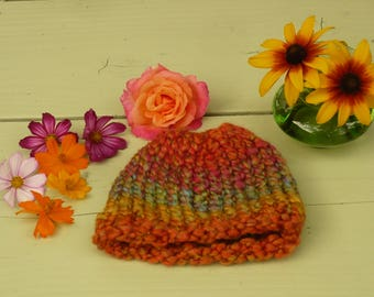 """Baby Stocking Cap - Sunset Rainbow (5.5"""") Baby hat. Infant hat. Baby beanie. Baby knit hat. Infant beanie. handknit. Bearpaw Crafts by Tania"""