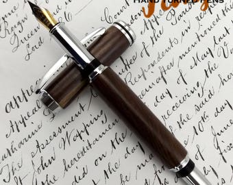 Tropical S. American Santos Rosewood Highbrook Fountain pen in Chrome (1037)