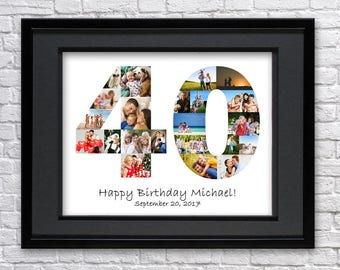 Digital File 40 Anniversary Gifts Number Photo Collage Art Forty Birthday Gift Custom 40th Collage Photo Collage Gift 40th Birthday 40th Art